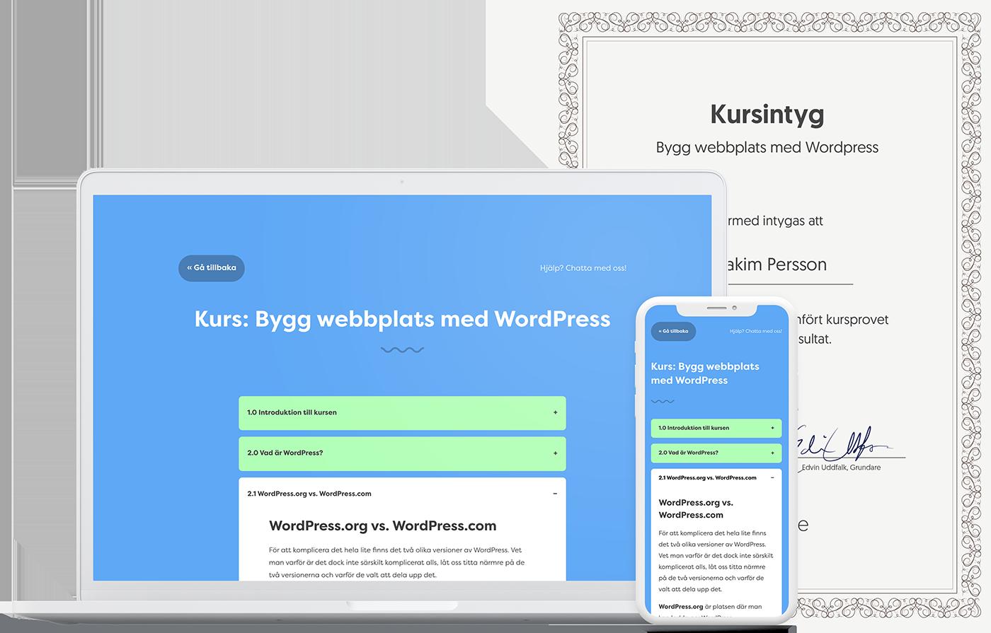 Bygg webbplats med WordPress